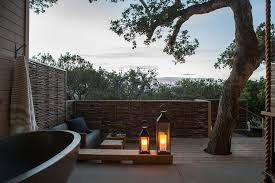 Patio Around Tree Zen Garden With Gold Lanterns In Tree Transitional Deck Patio