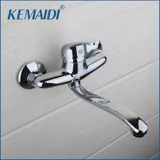 popular kitchen faucet wall mounted buy cheap kitchen faucet wall solid brass basin faucet hot cold water tap single handle wash chrome finish bathroom kitchen sink mixer