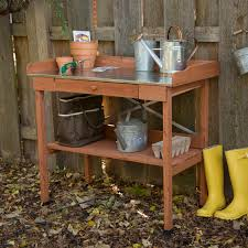 garden potting bench with storage bench decoration