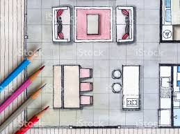 watercolor and ink freehand sketch floor plan real estate business watercolor and ink freehand sketch floor plan real estate business royalty free stock photo