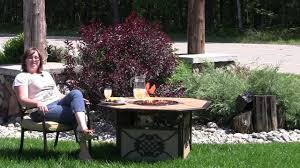 enjoy your backyard with the agio heritage firepit table youtube