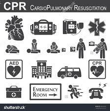 cpr cardiopulmonary resuscitation icon black u0026 white flat