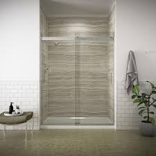 shop shower doors at lowes com kohler levity 56 6250 in to 59 6250 in frameless bright silver sliding shower door