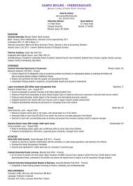 example of resume for undergraduate student resume for study