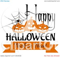 clipart of a spider web with jackolanterns and happy halloween