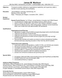 Sample Objective Of Resume by James Madison University Resume Format