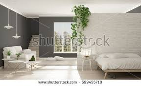 Open Space Bedroom Design Scandinavian White Gray Minimalist Living Bedroom Stock