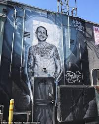 20 foot mural of chester bennington unveiled in la daily mail online