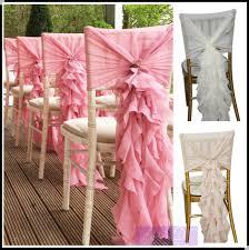 Ruffled Chair Covers Fancy Chiffon Ruffled Wedding Chair Covers Chair Sash Hood Banquet