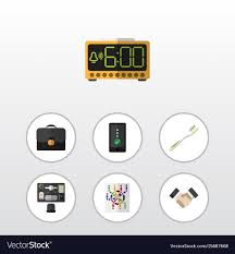 icon bureau flat icon lifestyle set of bureau electric alarm vector image