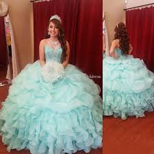 sweet 16 mint quinceanera dresses 2017 sweetheart crytal beads