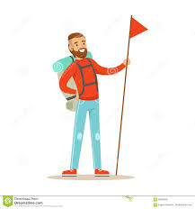 Flag Backpack Young Man Traveler Standing With Backpack And Holdiing Red Flag