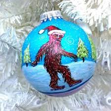 sasquatch ornament painted bigfoot snow