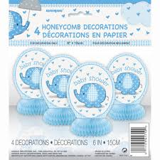 Elephant Decorations For Baby Shower Honeycomb Blue Elephant Baby Shower Decorations 4ct