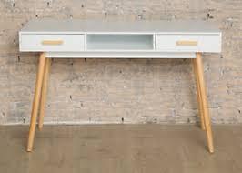 scandinavian style desk white wood office furniture drawers retro