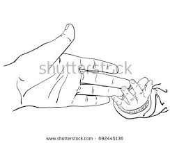 line art sketch mother hand touching stock vector 692445136