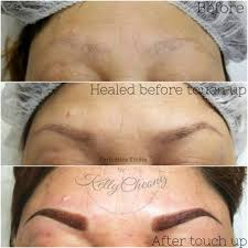 top pic before powder brows treatment middle pic healed 5 weeks