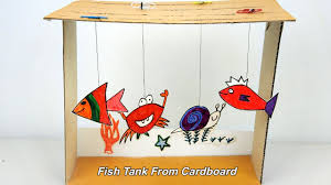 how to make an aquarium fish tank from cardboard toy for kids