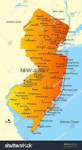 New Jersey New York Map by Vector Color Map New Jersey State Stock Vector 26032204 Shutterstock