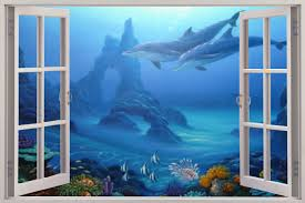 huge 3d window view dolphins under sea wall sticker film art decal shop categories