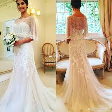 elegant ivory sheath wedding dresses with cape 2017 with buttons