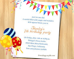 sample invitation card for 7th birthday party wedding invitation