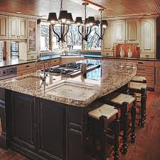 travertine countertops kitchen island with cooktop lighting