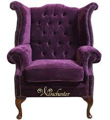 Chesterfield Wing Armchair Chesterfield Fabric Queen Anne High Back Wing Chair Amethyst