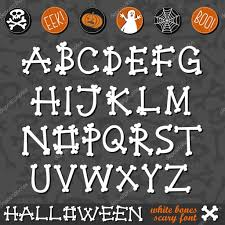 halloween white bones scary font latin alphabet and halloween