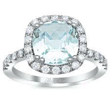 aquamarine and diamond ring cushion cut aquamarine halo engagement ring
