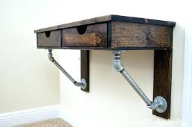 Hanging Desk Drawer Organizer Hanging Desk Mount Desk To Wall Rustic Industrial Wall Mounted