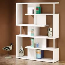 decorations contemporary white wooden bookshelves with triple