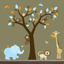 nursery wall decor colorful kids rooms winnie the pooh and piglet popular items for tree monkey on etsy safari nursery jungle wall decal treemonkeyselephantgiraffe vinyl baby