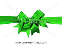green satin ribbon shiny green satin ribbon with bow on white background stock