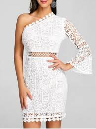 lace dress white xl one shoulder flare sleeve lace dress rosegal