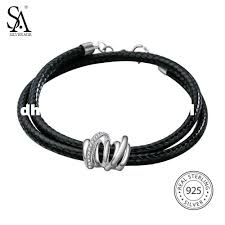 sterling silver leather bracelet images Sa silverage 925 sterling silver leather wrap bracelets bangles jpg