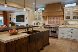 interior design beige countertop with beige range hood and beige