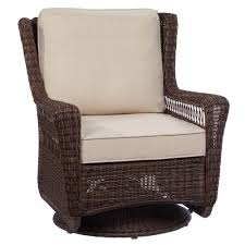 Home Chair Hampton Bay Park Meadows Brown Swivel Rocking Wicker Outdoor
