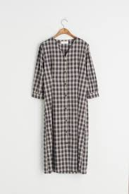 gingham check 3 4 length sleeve dress biscotti