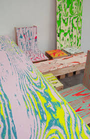 gorgeous tables and chairs with colorful woodgrain effect