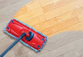 Mopping Laminate Floor Housework Sweeper Wet Mop On Laminate Floors Stock Photo