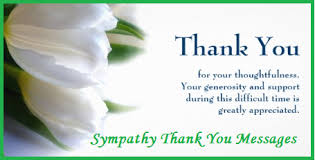 sympathy thank you cards thank you messages sympathy condolence