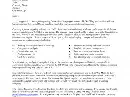 sample cover letter for finance internship cover letter for