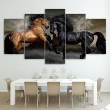 hd 5 piece canvas wall art black brown horse shopperdesigns hd 5 piece canvas wall art black brown horse