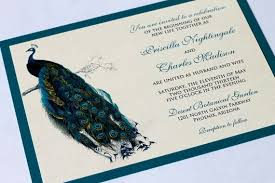 peacock wedding invitations peacock wedding invitations rectangle landscape blue vintage