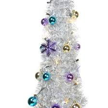 kvalitet 5 10ft pop up decorated slim silver tree with lights