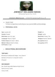 Sample Resume Objectives For Ojt Psychology Students by Sample Resume For Hrm Ojt Students Templates