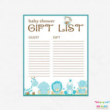 list of baby shower safari baby shower gift list printable from ohbabyshower on