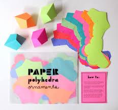 diy geometric paper ornaments set of 8 paper polyhedra templates