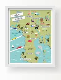 Map Of Tampa Fl Tampa Map Art Tampa Wall Decor Modern Map Illustration